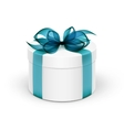 White Round Gift Box with Light Blue Turquoise vector image