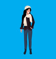 woman wearing winter clothes female cartoon vector image