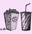 cinema popcorn soda vector image
