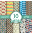 Set of 10 Seamless Geometric Lines Pattern vector image