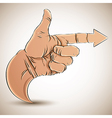 Hand with pointing finger and arrow vector image