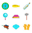 archeology icons set cartoon style vector image vector image