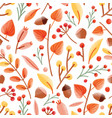 autumn seamless pattern with acorns nuts cape vector image
