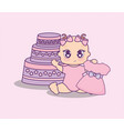 baby shower card with cake and little girl vector image vector image