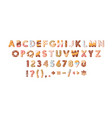 bakery alphabet or sweet font with letters vector image