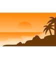 Beach landscape of silhouette on orange vector image vector image