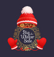 big winter sale poster warm red hat knitted gloves vector image vector image