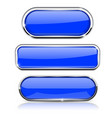 blue buttons set collection of web 3d shiny icons vector image vector image