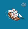 brown sailer on a blue background vector image vector image