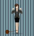 Business woman with weight in prison vector image vector image