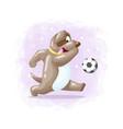 cartoon cute dog playing football vector image vector image