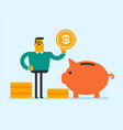 caucasian manager putting a coin in a piggy bank vector image