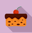 cherry on cake icon flat style vector image vector image
