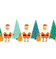 coronavirus christmas border seamless santa claus vector image vector image