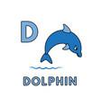 cute cartoon animals alphabet dolphin vector image