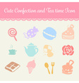 cute pastel confection and tea time cartoon icon vector image vector image