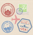 decorative colored welcome stamps and postal vector image vector image