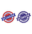 ecuador best quality stamp with scratched effect vector image