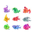 fanny cartoon colorful fishes set vector image vector image
