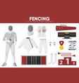 fencing sport equipment swordsman fencer garment vector image vector image