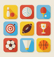 Flat Sport and Activities Squared App Icons Set vector image vector image