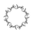 floral vintage circle frame isolated on vector image vector image
