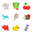 funny toy icons set cartoon style vector image vector image