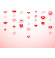garland from pink and red hearts happy saint vector image vector image