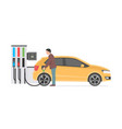 gas station and man vector image vector image