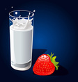 glass of milk with splash and strawberry on dark vector image vector image