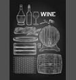 graphic collection winery wooden stuff drawn in vector image