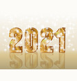 happy new 2021 year 3d golden gift card vector image vector image