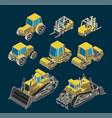 heavy equipment isometric set vector image vector image