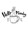 hello monday lettering for poster vector image