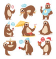laziness sloth animal character different pose vector image vector image