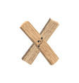letter x wood board font plank and nails alphabet vector image vector image