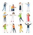 musician singers people vocal singer artist vector image