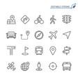 navigation line icons editable stroke vector image