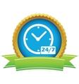 New gold clock logo vector image vector image