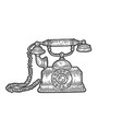 old rotary dial phone sketch engraving vector image vector image