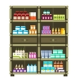 Pharmacy shelves with medical box and bottles for vector image vector image