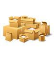 pile realistic stacked cardboard box brown vector image vector image