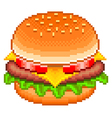 Pixel hamburger isolated vector image