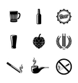 Pub and beer icons set with - Glass mug bottle vector image