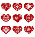 romantic red heart set vector image