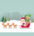 santa and helper with carriage snowscape vector image vector image