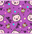 seamless pattern with kittens and muffins vector image