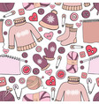seamless winter pattern with sweater cap socks vector image