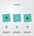set of green icons flat style symbols with leaf vector image