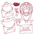 set valentines day hand drawn variants of the vector image vector image